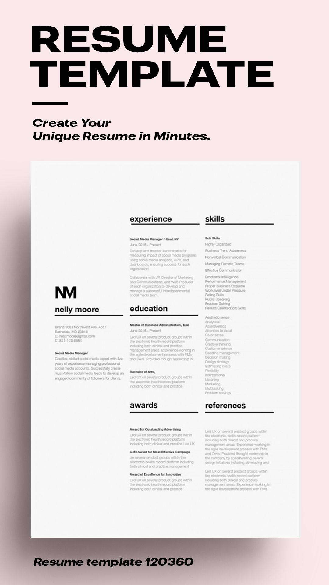Pin on Modern resume template