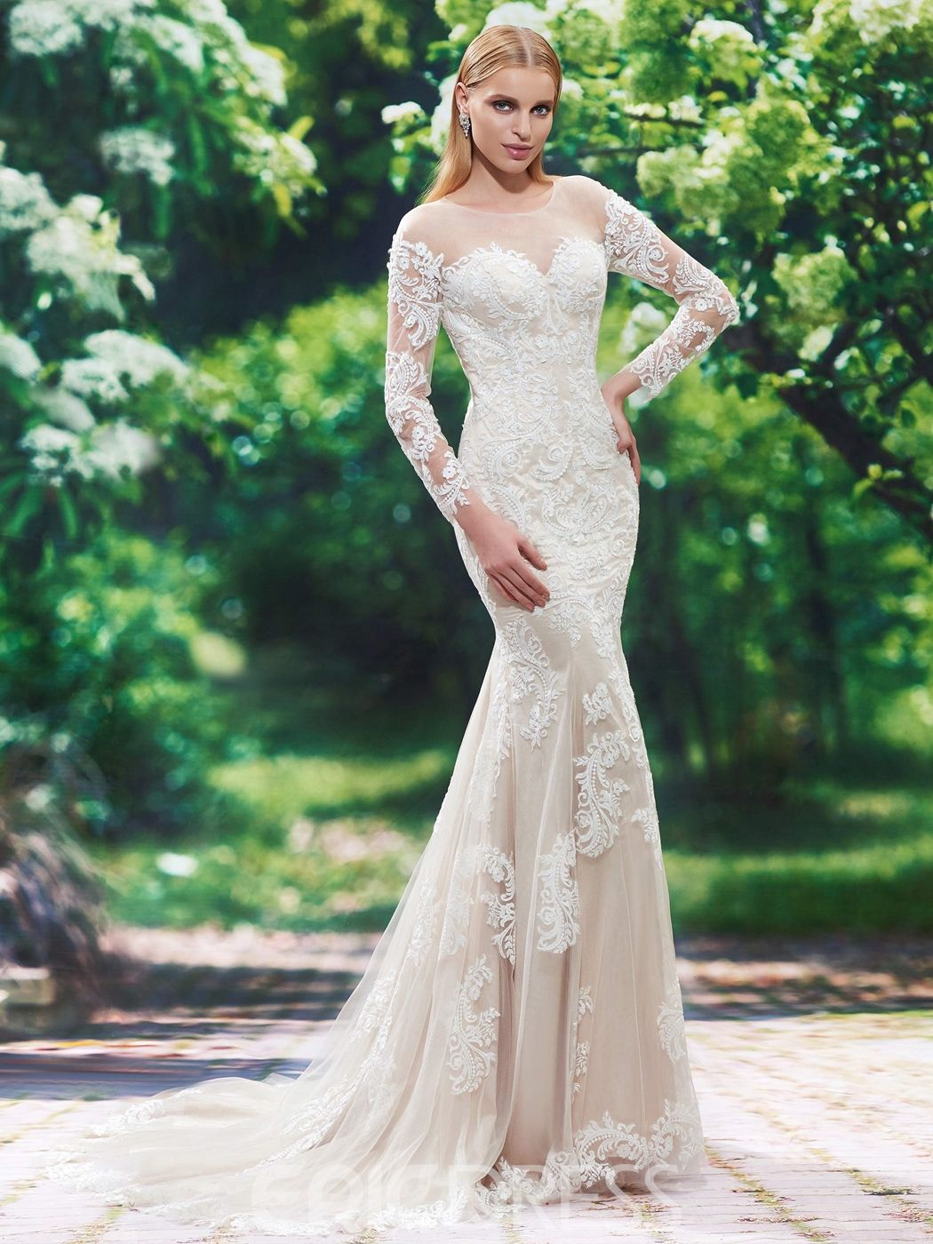 Beautiful illusion neckline long sleeves mermaid wedding dress