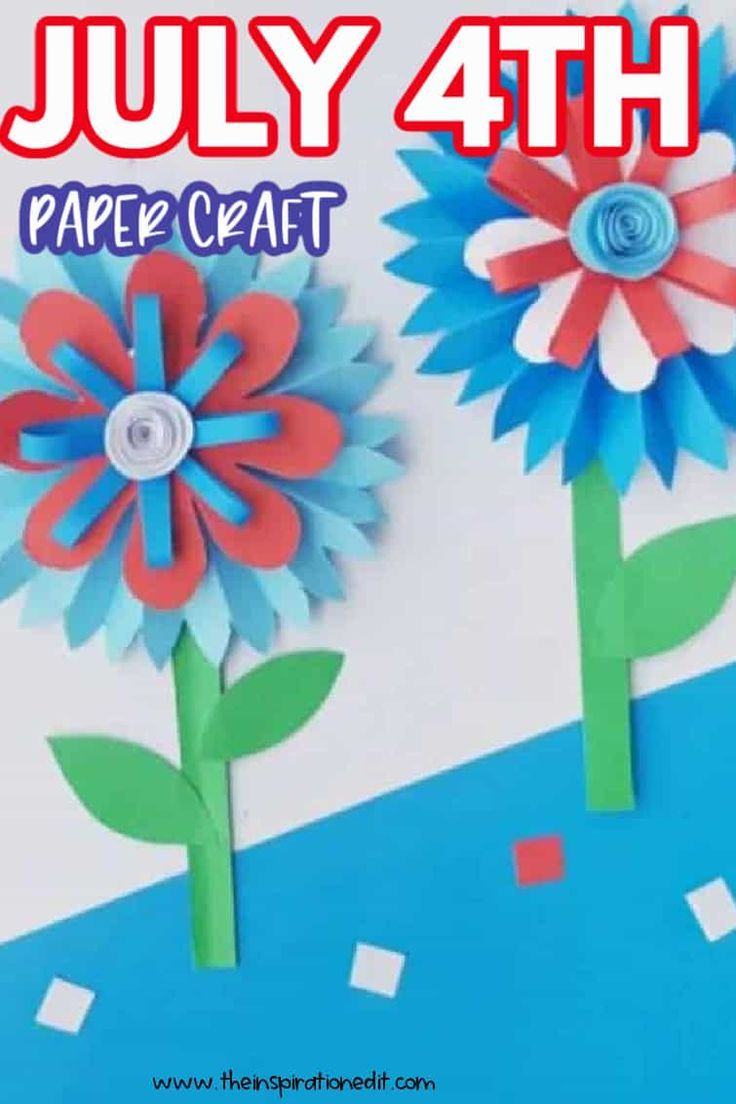 Check out this adorable 4th of July paper craft. The step-by-step instructions are super easy to follow and kids will have a great time making this lovely flower paper craft. #4thofjuly #papercraft #craftsforkids #easycrafts #summer #summercraft #funcrafts #craftideas