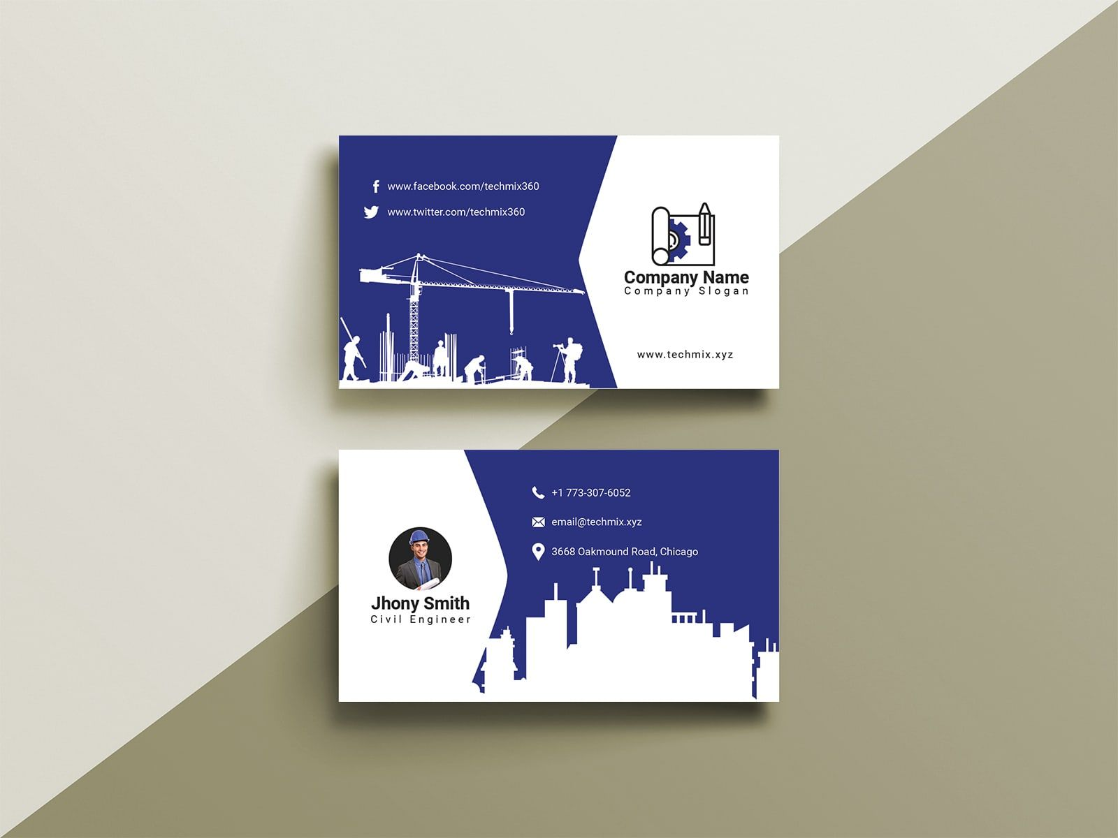 Civil Engineer Business Card Design Cool Business Cards Business Card Design Business Cards Creative Templates