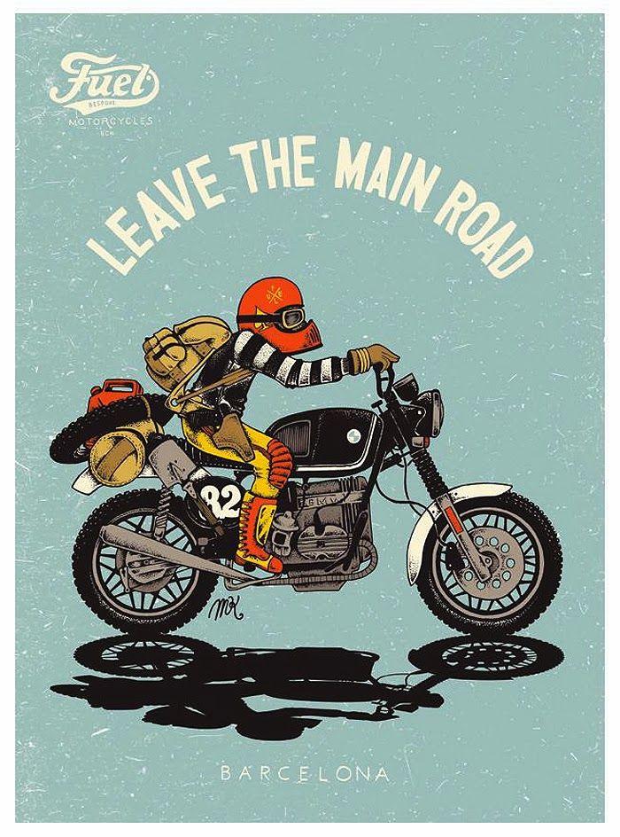 The Bullitt Motorcycle Illustrations Fuel Motorcycles Motorcycle Illustration Motorcycle Art Vintage Motorcycle Art