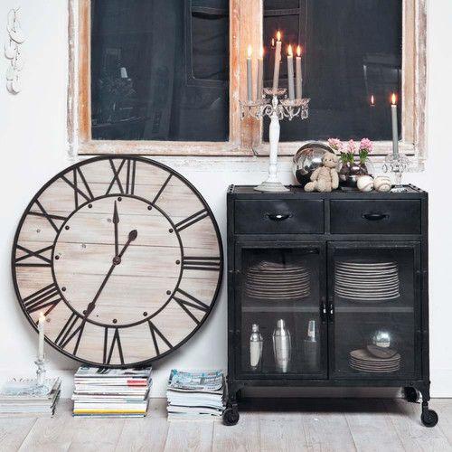 buffet indus vitr roulettes en m tal noir l 80 cm. Black Bedroom Furniture Sets. Home Design Ideas