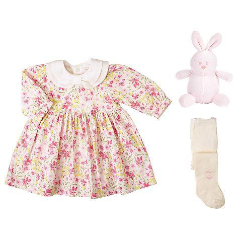 Buy Emile et Rose Baby Janet Floral Dress and Tights Set, Cream/Multi Online at johnlewis.com