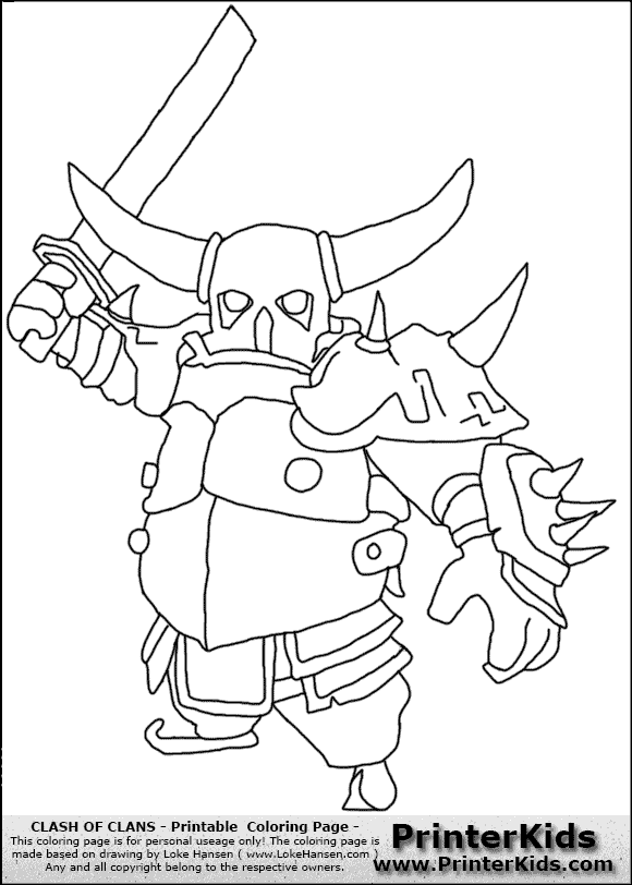 Clash Of Clans Pekka 2 Coloring Page Clash Royale