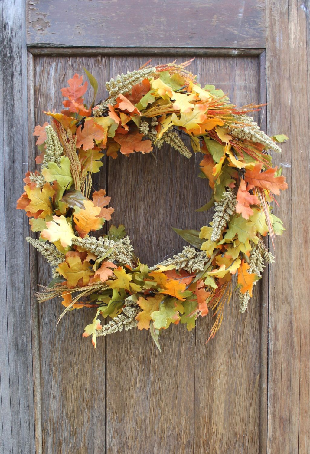 Fall Wreath, Leaf Wreath, Fall Leaf Wreath, Oak Leaf Wreath ...