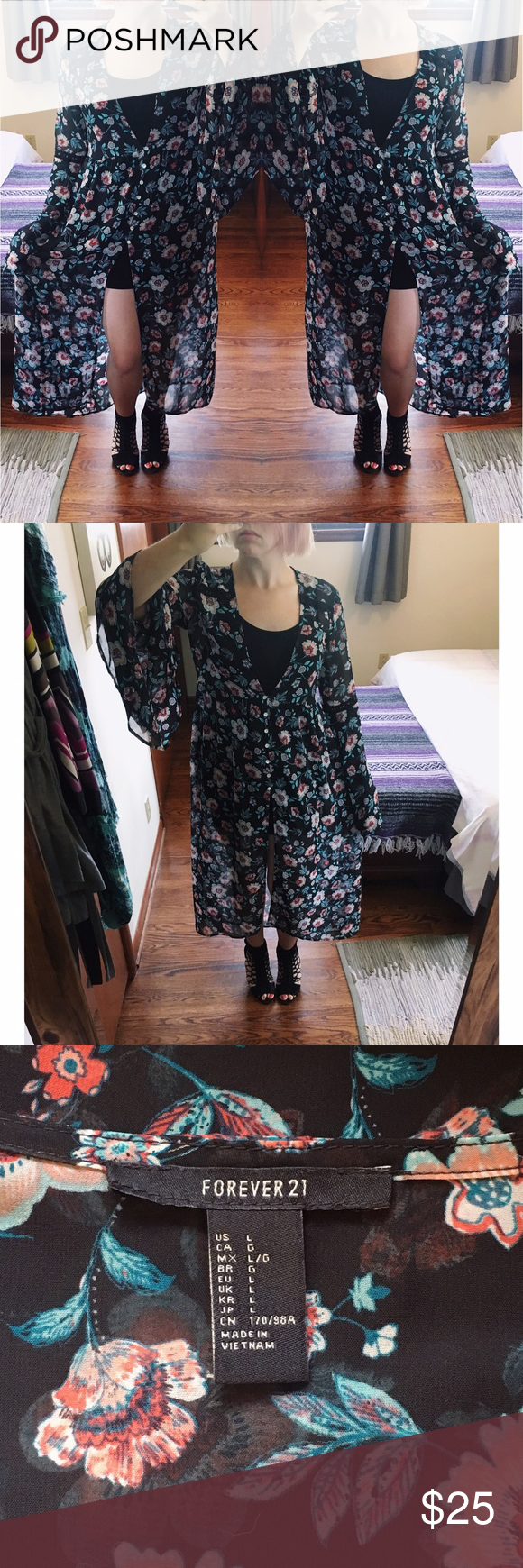 Forever bell sleeve floral button up maxi dress sheer maxi