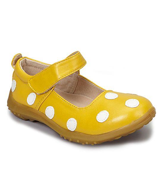 4b45b6e9bab2 Yellow   White Polka Dot Leather Mary Jane Little Girl Shoes