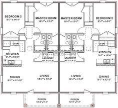 2 Bedroom 2 Bath Cottage Plans | Duplex House Plans Full Floor Plan 2 Bed 2