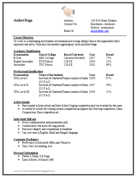awesome one page resume sample for freshers - Resume Sample For Freshers