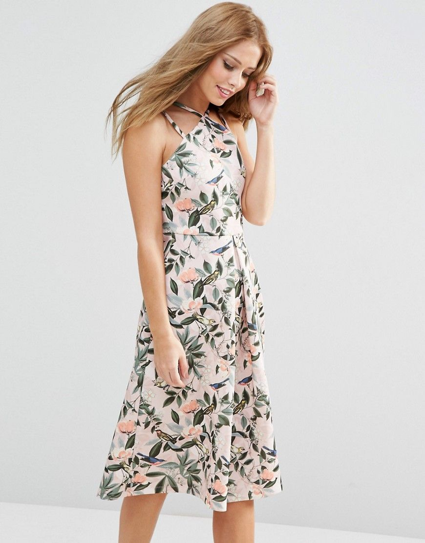 Asos wedding guest dresses with sleeves  ASOS Structured Midi Dress in Bird and Floral Print  Wedding Guest