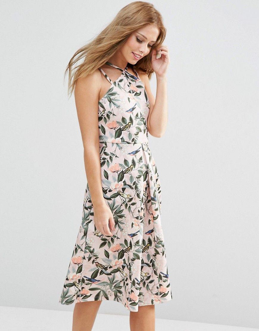 Floral print wedding dresses  ASOS Structured Midi Dress in Bird and Floral Print  Wedding Guest