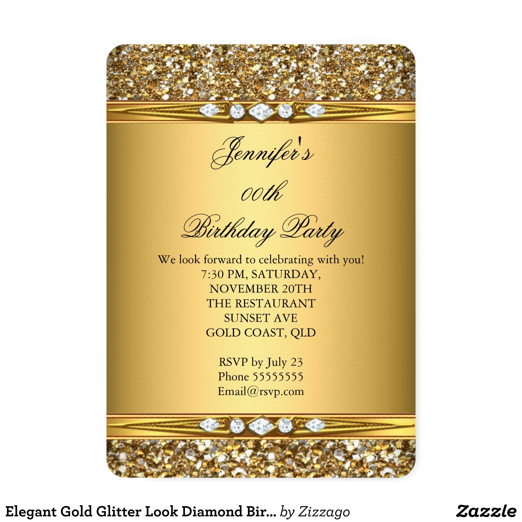 Elegant Gold Glitter Look Diamond Birthday Party Card Birthday - Birthday invitation gold coast