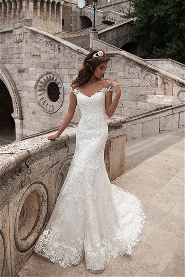 Illusion Neck Lace Fit Flared Long Wedding Dress With Full Back