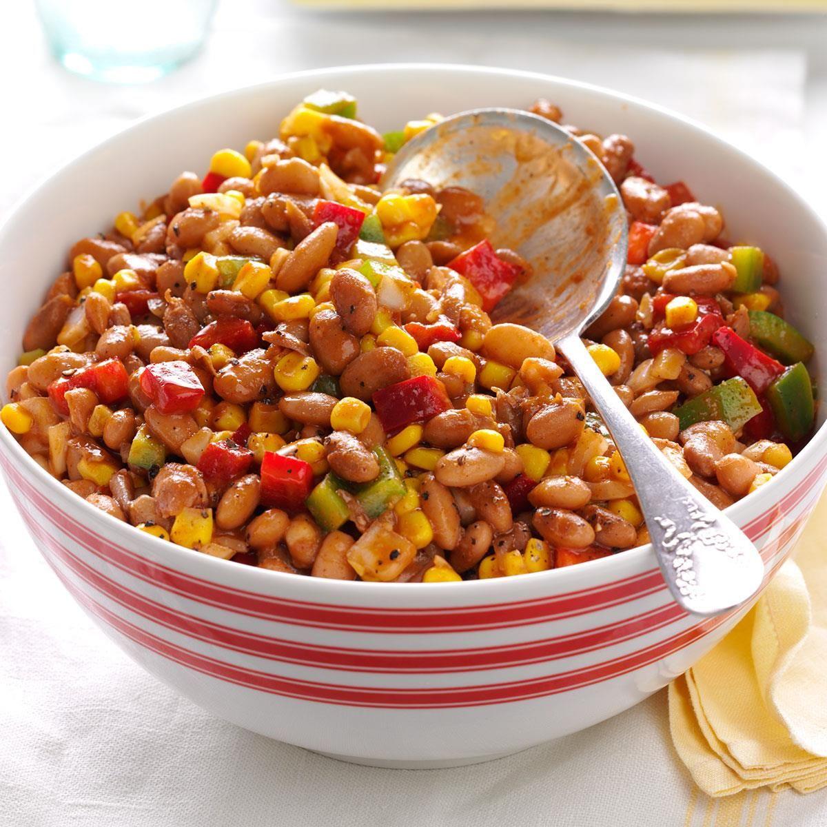 Barbecued Bean Salad Recipe Bean Salad Recipes Hearty Salads Potluck Salad