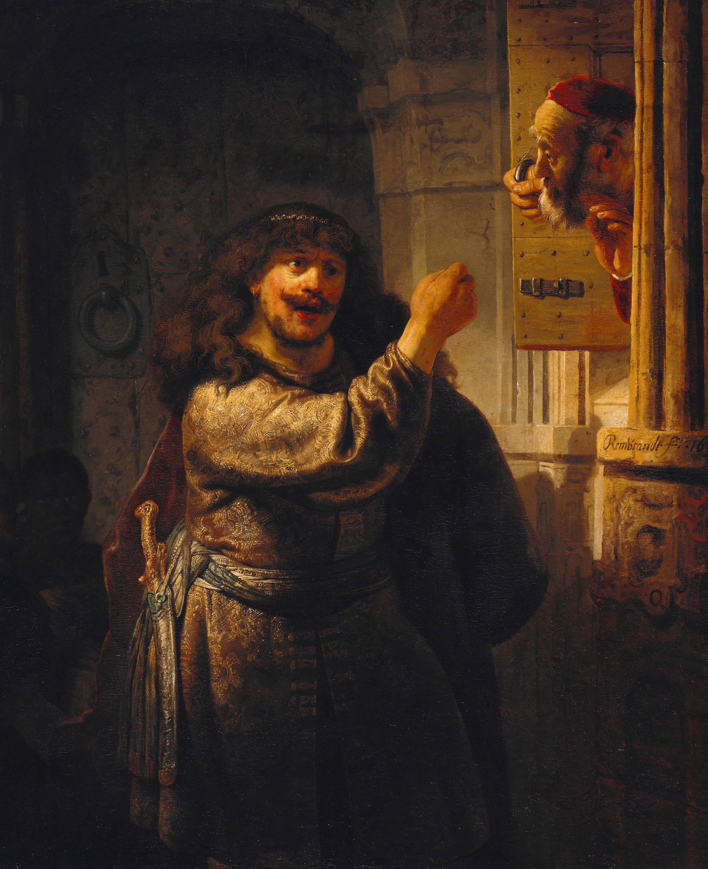 Rembrandt, Samsom threatening his Father in law,1635. Oil on canvas, 159 X 131 cm. Gemaldegalerie. Berlin. Eigenlijk zelfportret, wordt niet als zodanig gezien.