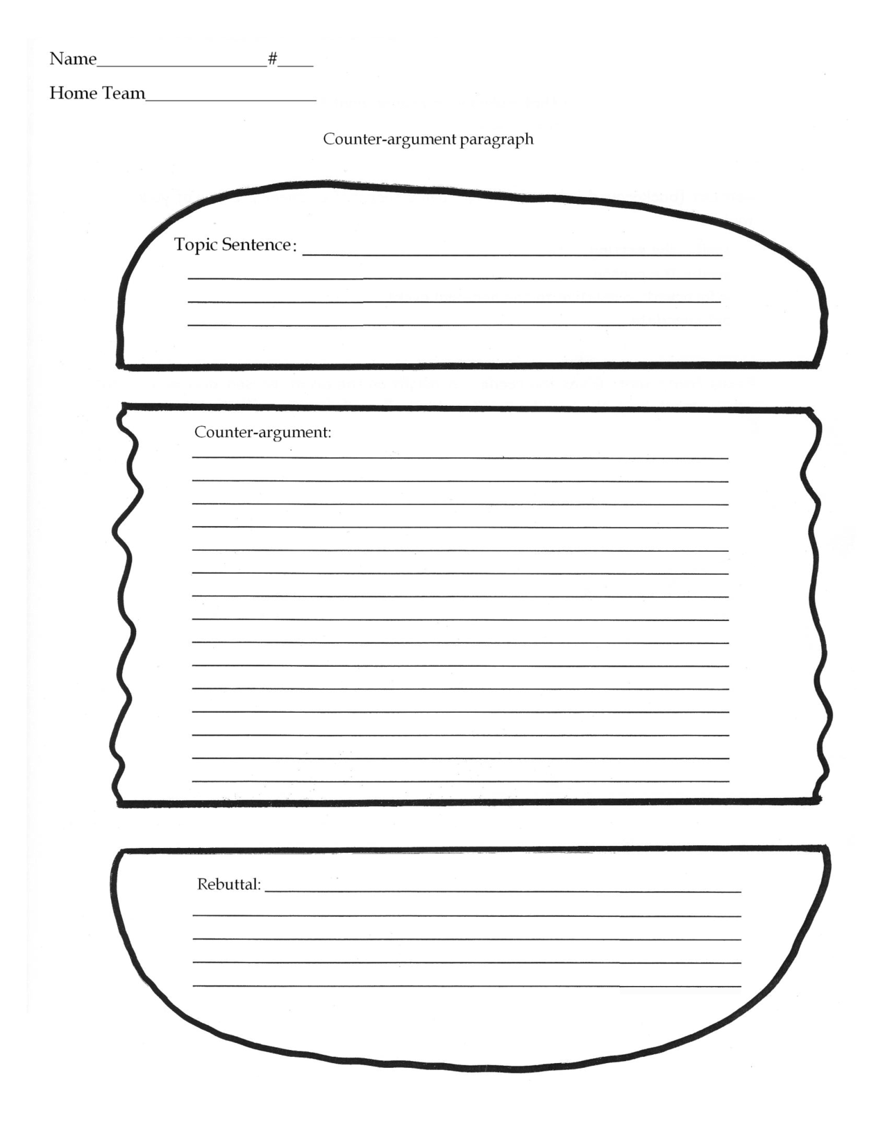 Hamburger Writing Template