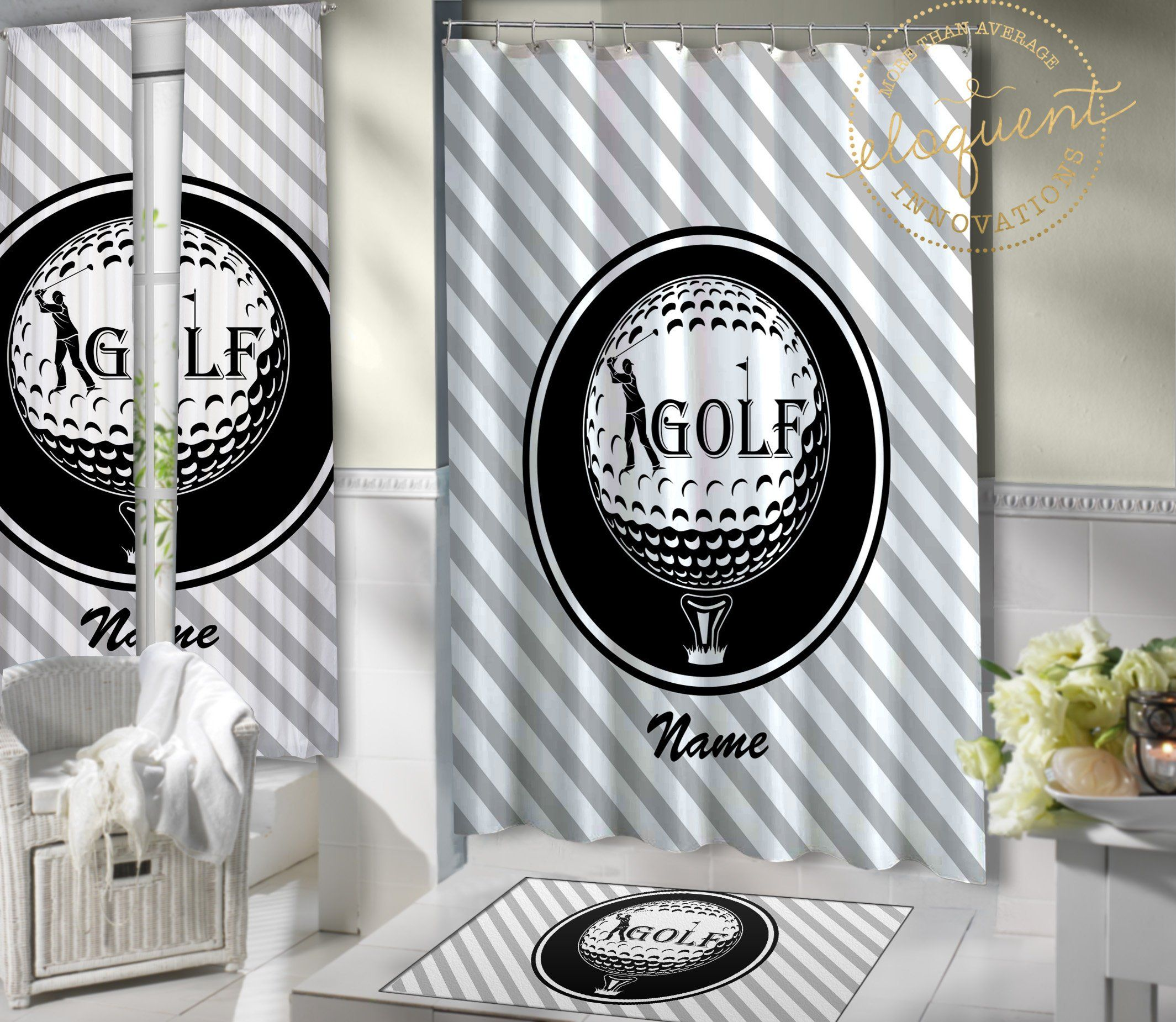 Golf Themed Shower Curtain Boys Or Girls Golf Bathroom Decor