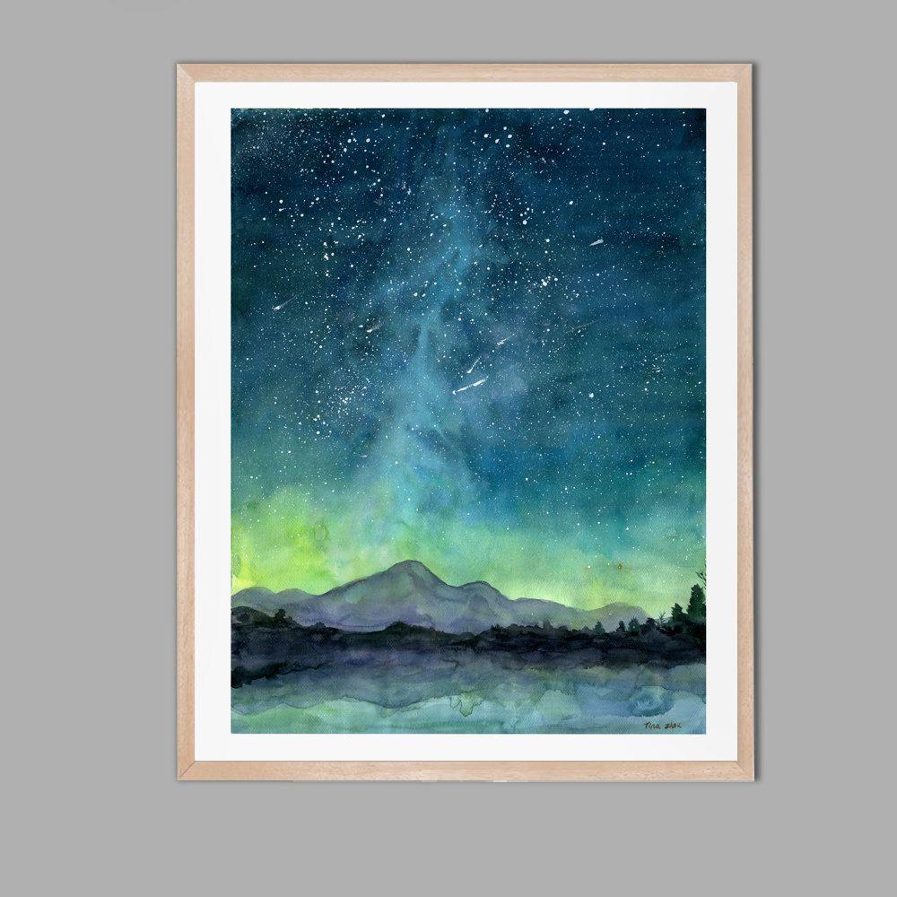 Starry Sky Print Watercolor Painting Print Starry Night Painting Print Watercolor Sky Landscape Painting Christams Decor Starry Night Painting Galaxy Painting Sky Painting