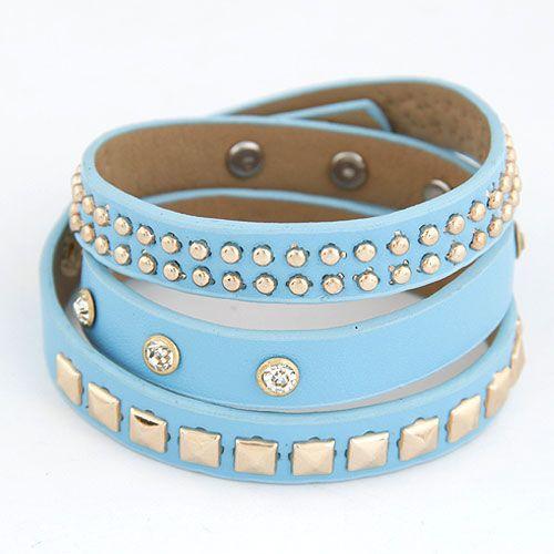 Punk style multi-layer gold color studded leather bracelet ( light blue )