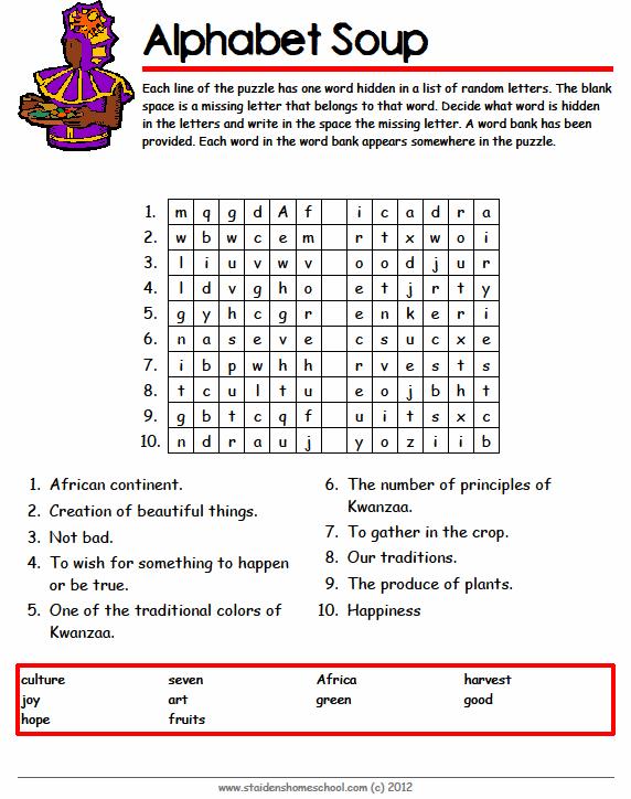 Free Kwanzaa Vocabulary Worksheets for Grades 4-7 | Kwanzaa ...