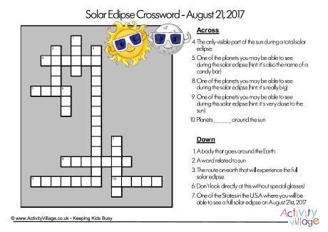 2017 Solar Eclipse Crossword Worksheets Pinterest Solar