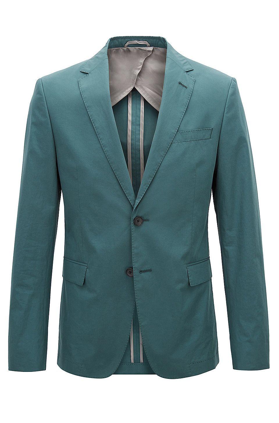 7cb6a7b5 HUGO BOSS Slim-fit blazer in paper-touch cotton poplin - Dark Green Blazers  from BOSS for Men in the official HUGO BOSS Online Store free shipping