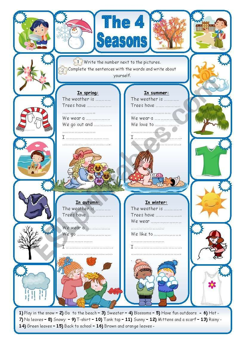 THE 4 SEASONS worksheet Imparare inglese