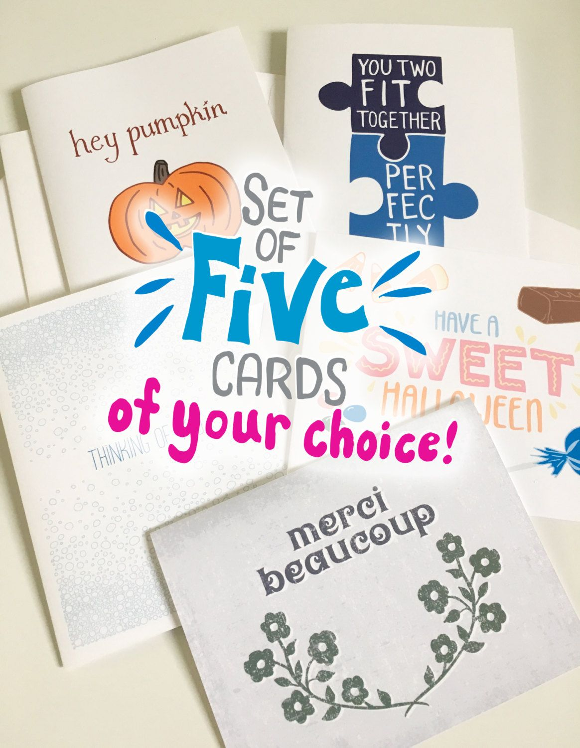 Custom Set Of 5 Greeting Cards Your Choice Build Your Own Package