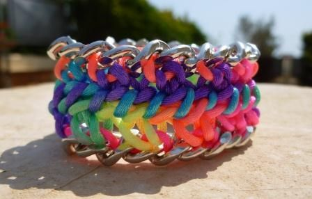 Neon multicolor braided chain bracelet