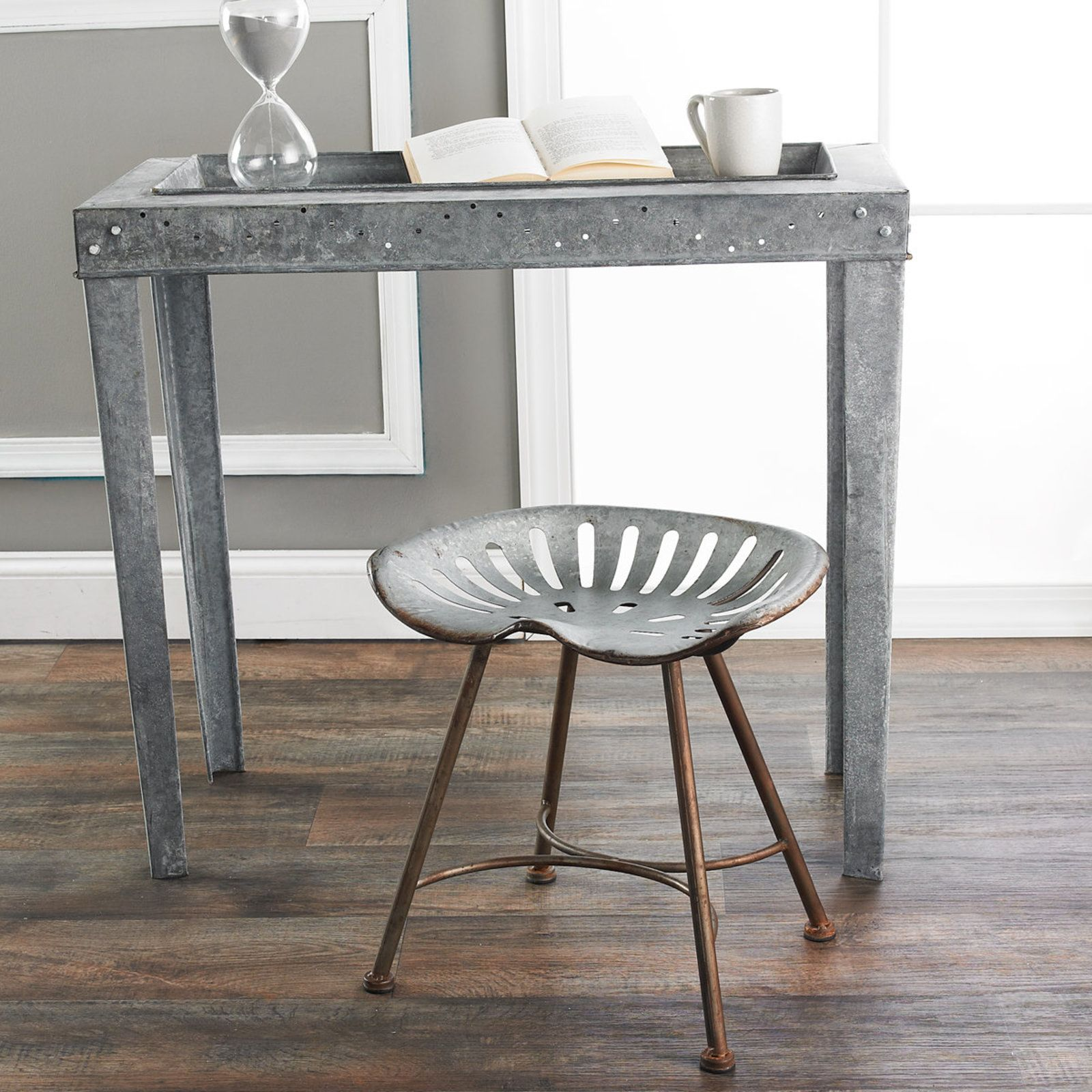 Galvanized Metal Tractor Seat Stool