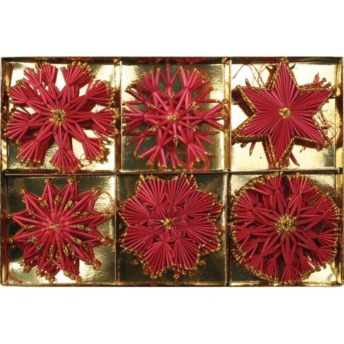 Polish Christmas Straw Ornaments - 18 Pieces_Red Non-Michigan - polish christmas decorations