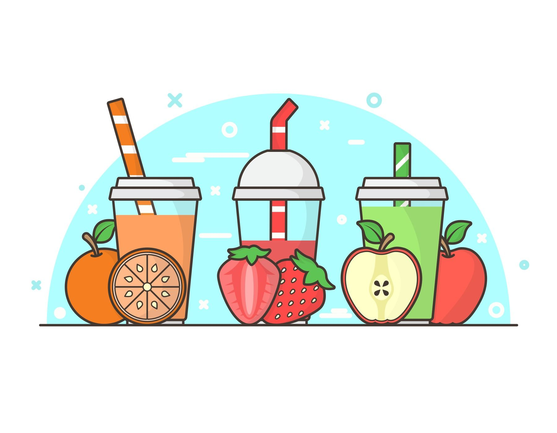 Smoothie and Ingredients Illustration for Infographics