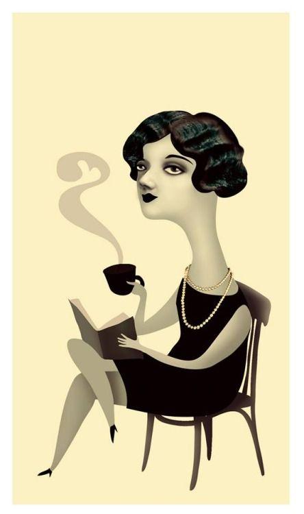 Coffee and reading / Café y lectura (ilustración de Ana Varela)
