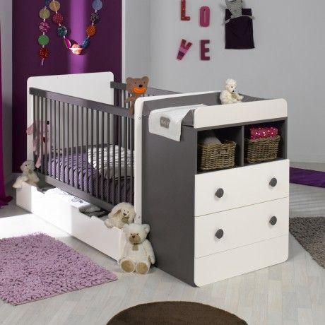 Lit évolutif avec tiroir blanc / taupe 70x140 Baby Room/nursery