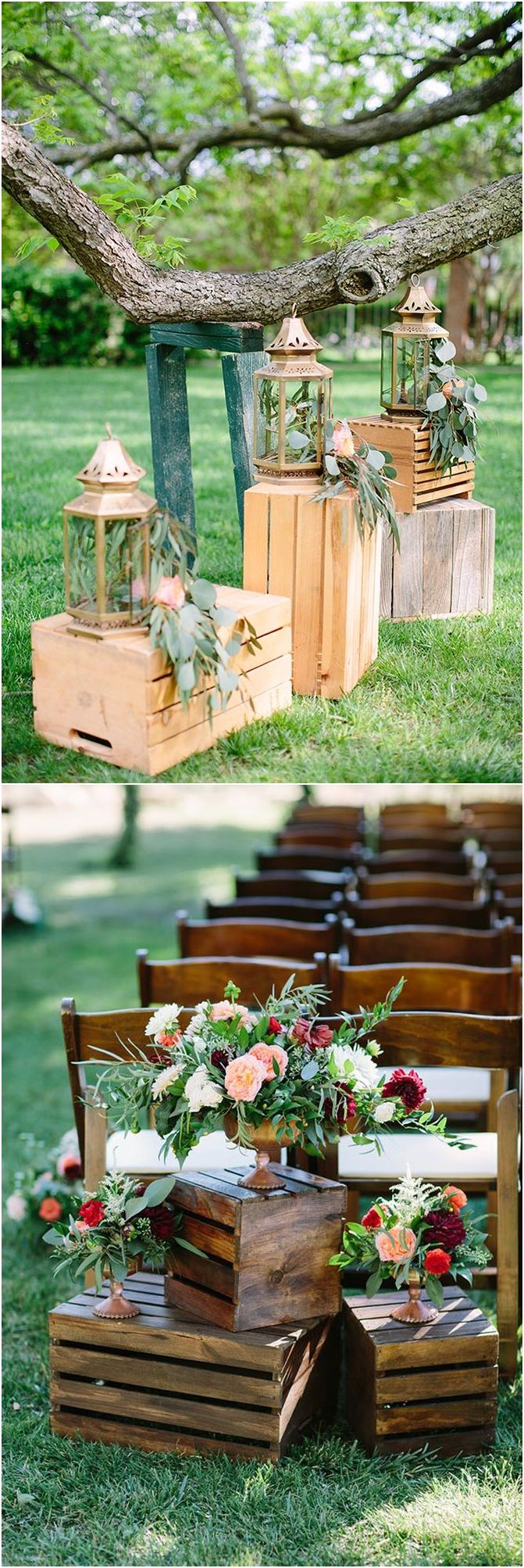 Wedding decoration ideas 2018  Rustic Woodsy Wedding Trend  Wooden Crates  Woodsy wedding
