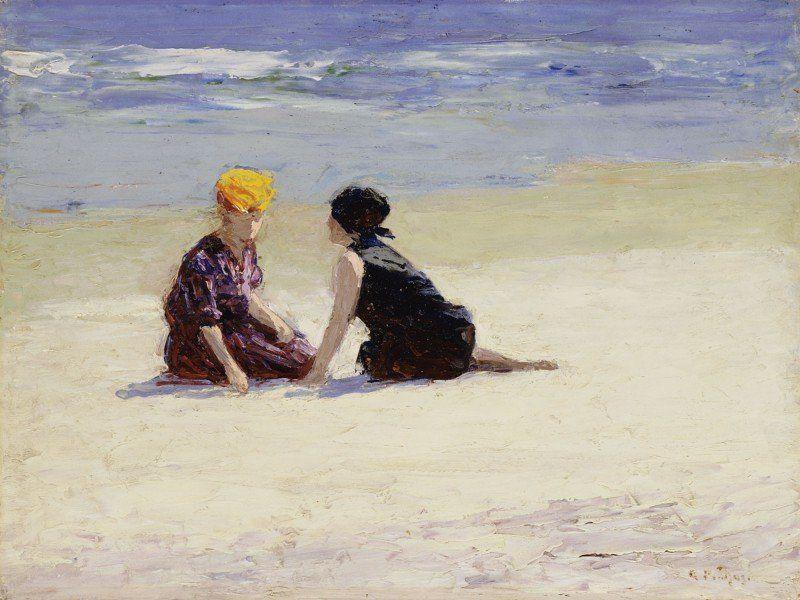 Poster Leinwandbild Strand Meer Sand Menschen Frau Malerei