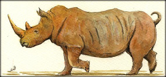 PRINT-Rhino White rhinioceros african by SanMartinArtsCrafts
