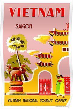 Vintage Saigon Vietnam Tourism Poster A3 Print