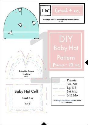 DIY Baby Hat Sewing Pattern and Tutorial in sizes PreEmie - 12 Months. —  Coral   Co.Coral   Co. cc9d0bd0059