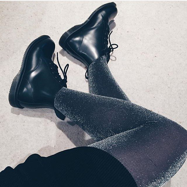 Docs of the day shared by @frankiestoner_  Wearing #DrMartens Emmeline Boots with a bit of sparkle.  How do you wear yours? #drmartenstyle