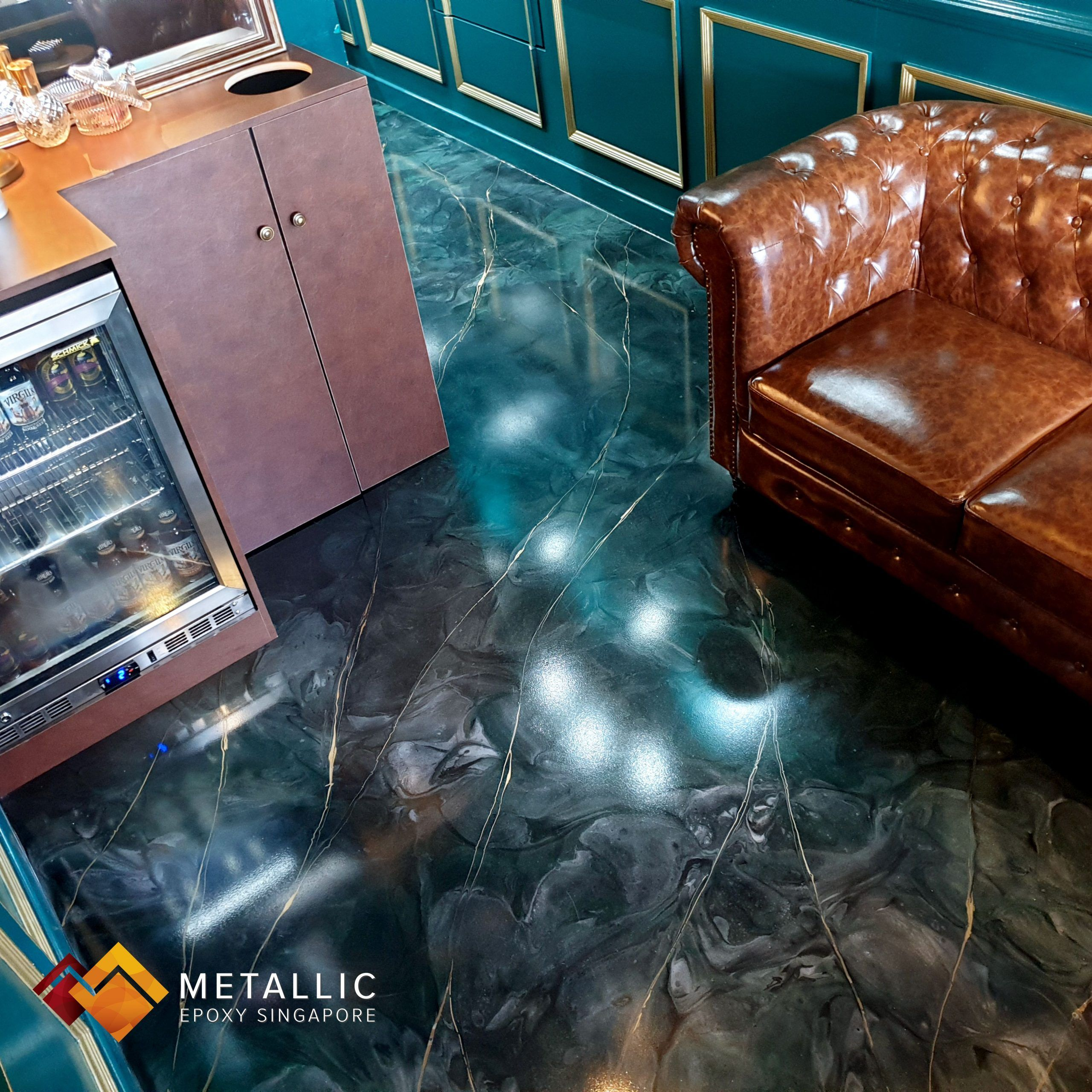 Metallic Epoxy Singapore Moss Green Base with Gold Marble Veins Floor#base #epoxy #floor #gold #green #marble #metallic #moss #singapore #veins