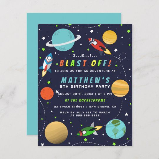 Blast Off! Outer Space Rocket Ship Birthday Party Invitation Postcard | Zazzle.com #outerspaceparty