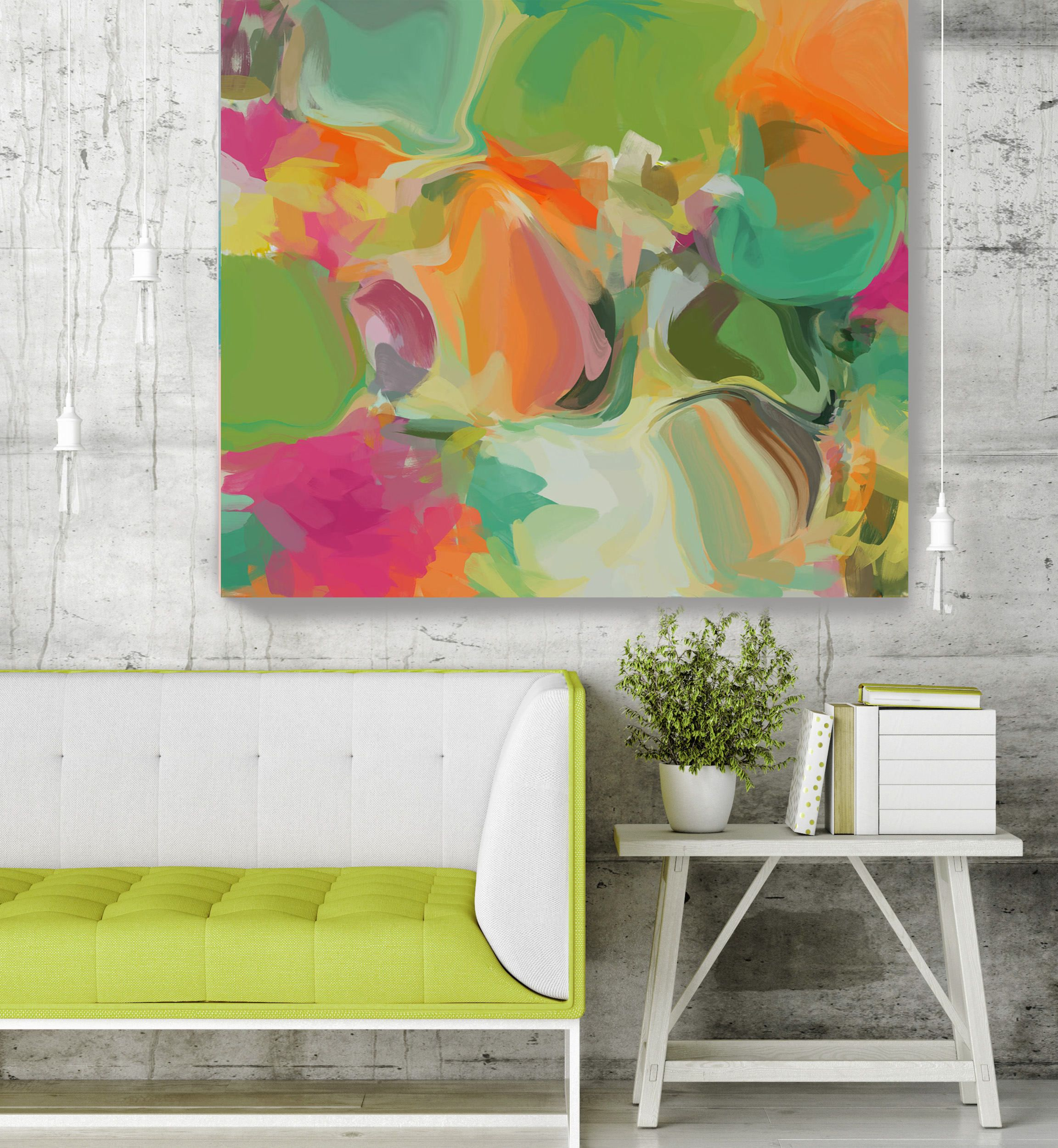 Green Orange Abstract Art, Wall Decor, Large Abstract Colorful Contemporary