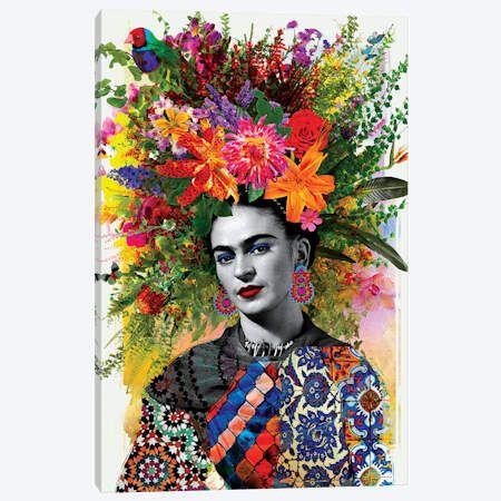 Frida Kahlo /& Flowers Portrait Collage Print Surrealism Style Modern Art