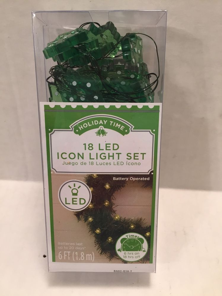 LED Xmas Tree String Lights Battery Powered Timer 18 Count 6 Feet