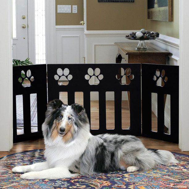 Wooden Pet Gate Black Paw Design black, pets, pet