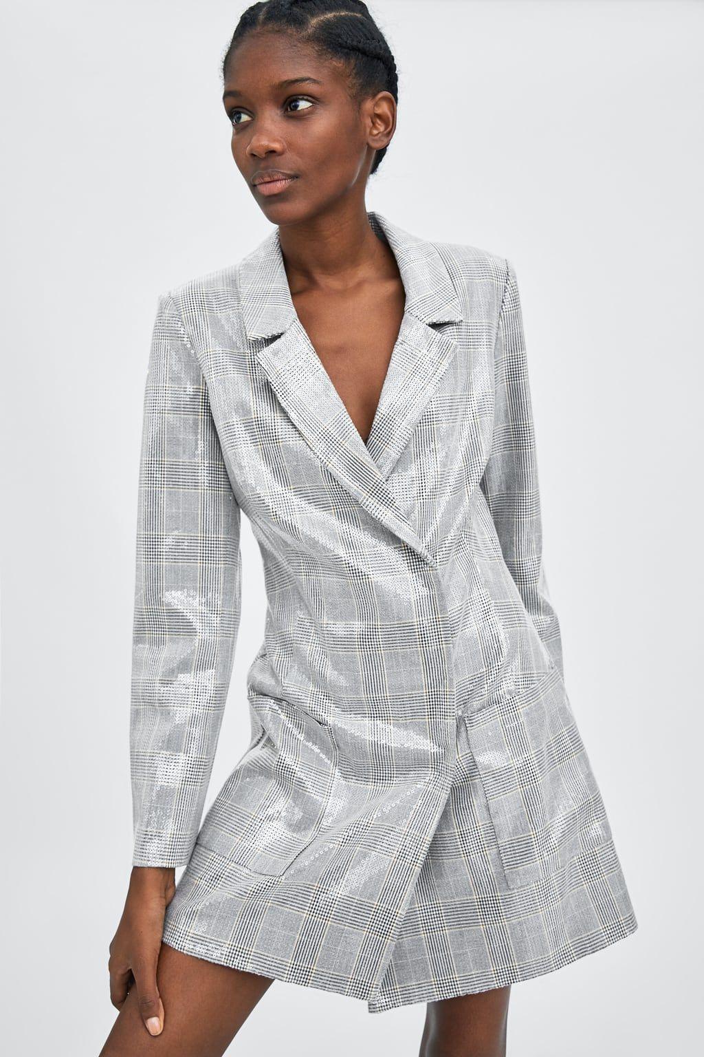 Vestido blazer lentejuelas | Lentejuelas, Vestidos y Zara