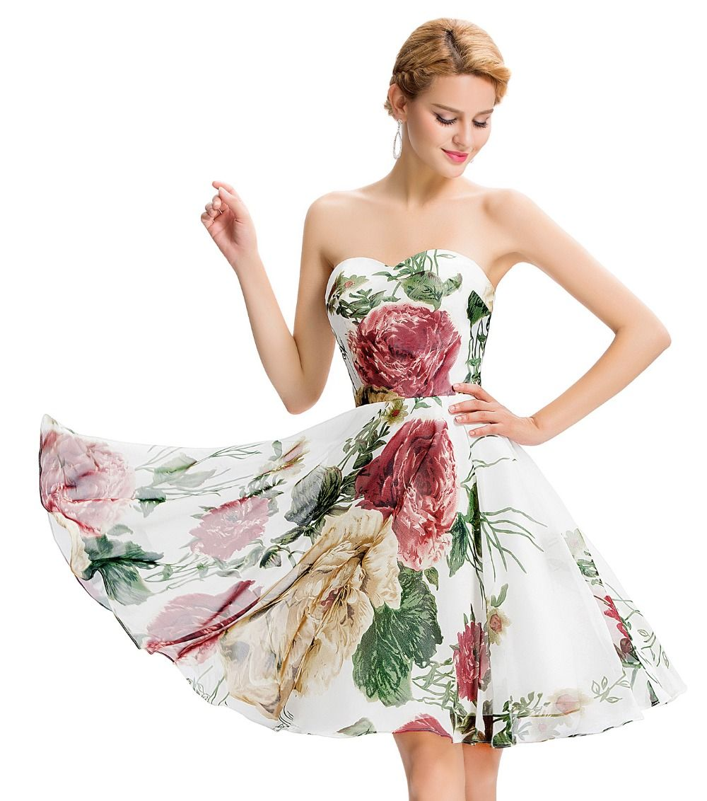 3336bfdd9e358 Grace Karin Floral Short Prom Dresses 2016 Sexy Strapless Vibrant ...
