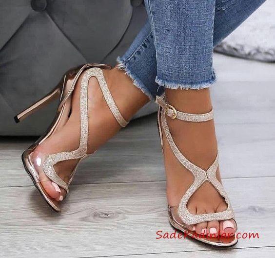 2019 Payetli Ayakkabı Modelleri Gold Çapraz Bantlı Tokalı
