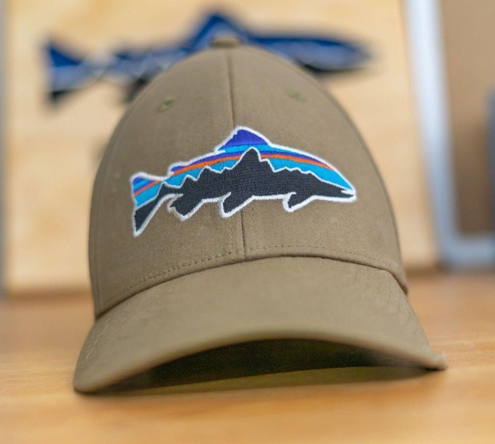 31bd97786b05a PATAGONIA Mens Hat Fitz Roy Trout Fish Logo Turquoise Stretch Fit Cap Sz Sm    M